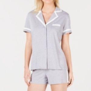 Alfani Contrasting Trim Shorts PJs Set Gray